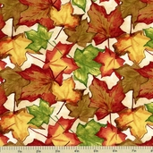 Beauty Of Autumn Leaf Toss Cotton Fabric - Ivory