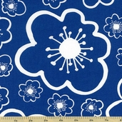 Bella Flower Toss Cotton Fabric - Blue 35212-4