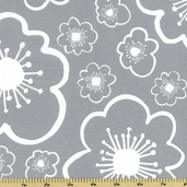 Bella Flower Toss Cotton Fabric - Gray 35212-5