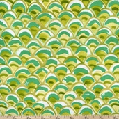 Belle Fish Scales Cotton Fabric - Light Lime