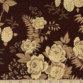 Belle Fleur Floral Cotton Fabric - Brown 3797-60112-9