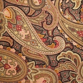 Belle Fleur Paisley Cotton Fabric - Brown 3797-60111-4