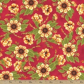 Berkshire Farm Floral Cotton Fabric - Red