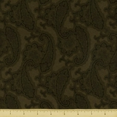 Berkshire Paisley Flannel Fabric Moss 34048
