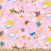 Best Friends Sky Toss Cotton Fabric - Pink