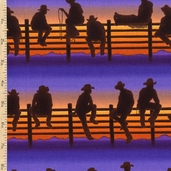 Best of the West Midnight Cowboy Cotton Fabric - Sunset