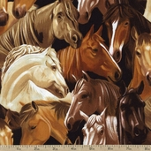Best of the West Packed Horses Cotton Fabric - Brown