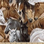 Best of the West Packed Horses Cotton Fabric - Tan