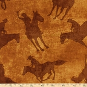 Best of the West Shadow Rider Cotton Fabric - Saddle