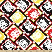 Betty Boop Cotton Fabric - White