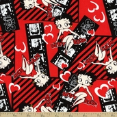 Betty Boop Film Cotton Fabric - Red