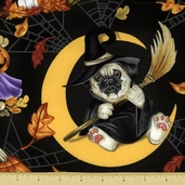 Big Cat Designs Cotton Fabric - Halloween Pups - Midnight