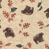Birch Bark Lodge Cotton Fabric - All Over Bears Birch