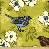 Birds and Blooms Cotton Fabric - Green 02494-55