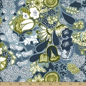 Birds and Blooms Cotton Fabric - Green 02497-44