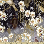 Birds and Blossoms Cotton Fabric - Black Gold K7115-4