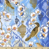 Birds and Blossoms Cotton Fabric Cornflower Gold K7115-451
