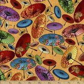 Birdsong Umbrellas Cotton Fabric - Tan
