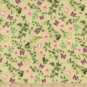 Bistro Birds Cotton Fabric - Cream