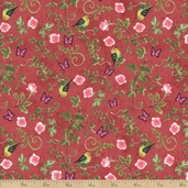 Bistro Birds Cotton Fabric - Wine