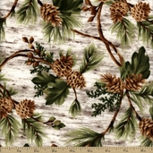 Black Bear Lodge Flannel Pinecone Cotton Fabric - Cream