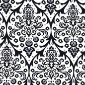 Black, White, and Currant Cotton Fabric