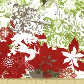 Blitzen Cotton Fabric - Holiday Collage - Green
