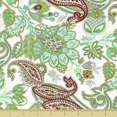 Blitzen Cotton Fabric - Paisley - Green - Clearance