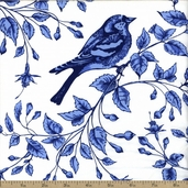 Blue And White Bird On The Line Cotton Fabric - Blue
