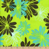 Blue Lagoon Large Floral Cotton Fabric - Green