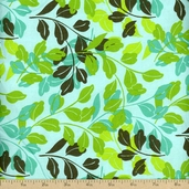 Blue Lagoon Leaves Cotton Fabric - Blue