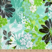 Blue Lagoon Packed Floral Cotton Fabric - Blue