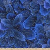 Bluebird Feathers Cotton Fabric - Blue