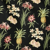 Boca Botanical Cotton Fabric - Black - Clearance