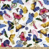 Bohemia Butterflies Cotton Fabric - Hydrangea