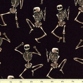 Boo Crew Skeleton Cotton Fabric Black