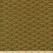 Bountiful Harvest Flower Stem Cotton Fabric - Green