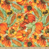 Bountiful Harvest Packed Harvest Cotton Fabric - Orange