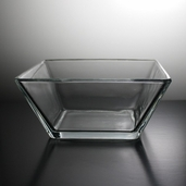 Bowl Tapered Square 8.75in - Clear Glass