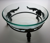Bowl with Metal Stand 15in - Clear Glass