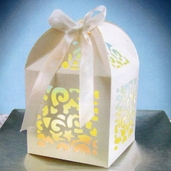 Box with Pearl Ribbon Ties - 12