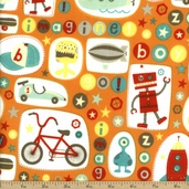 Boy Crazy Flannel Imagine Cotton Fabric - Orange