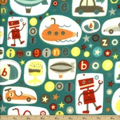 Boy Crazy Flannel Imagine Cotton Fabric - Teal