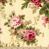 Bread and Butter Holiday Floral Cotton Fabric - Cream