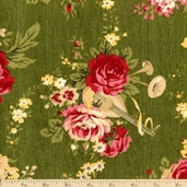 Bread and Butter Holiday Floral Cotton Fabric - Green