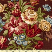 Bread and Butter Large Floral Cotton Fabric - Brown