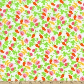 Briar Rose Small Floral Toss Cotton Fabric - White