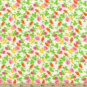 Briar Rose Small Floral Toss Cotton Jersey Fabric - White/Pink
