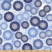 Bright and Early Floral on Newsprint Cotton Fabric - Blue