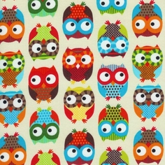 Bright Owl Cotton Fabric - Cream
